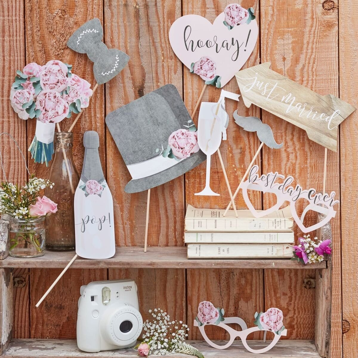"Photo Booth Rustikal ""Just Married"" (10 Teile) - Ja-Hochzeitsshop"