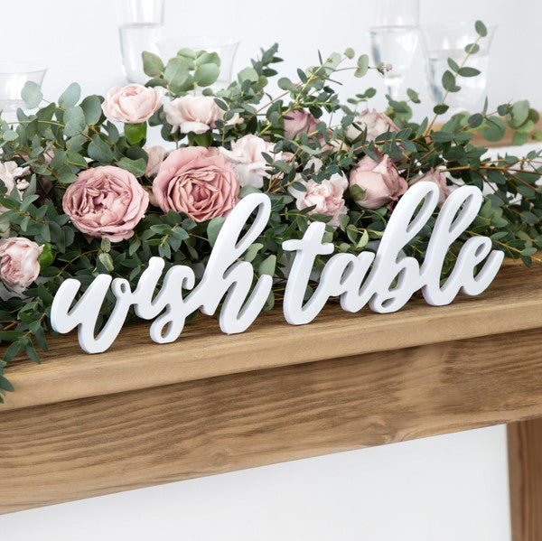 Holz Aufsteller wish table
