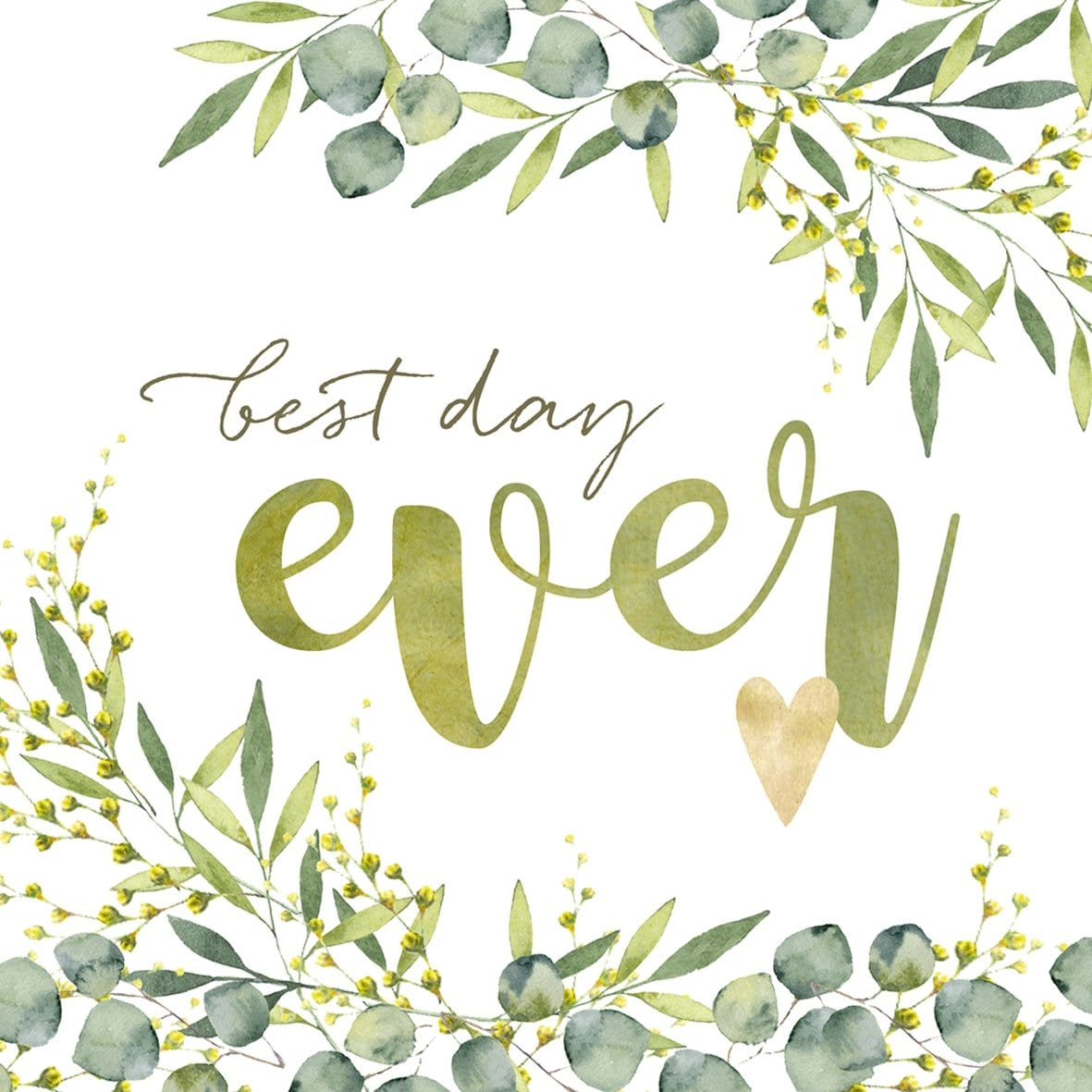 Serviette Eukalyptus best day ever  - Ja-Hochzeitsshop