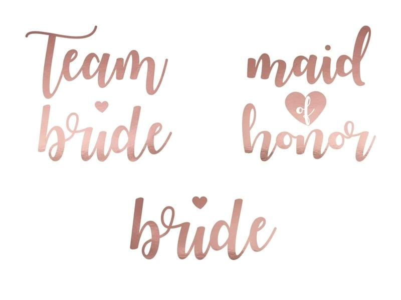 Tattoo Set Team Bride rosegold - Ja-Hochzeitsshop