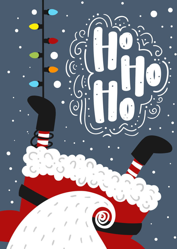 'Upside Down Santa' Christmas cards, pack of 10