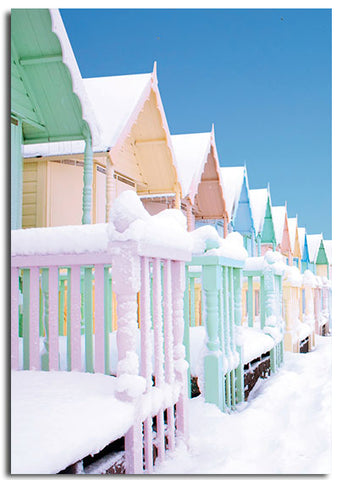 'Snowy Beach Huts' Christmas cards, pack of 10
