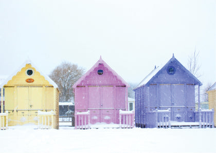 'Beach huts' pack of 10 Christmas cards