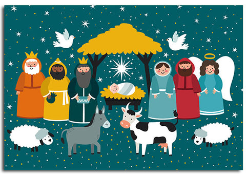 'Little Nativity' Christmas cards, pack of 10