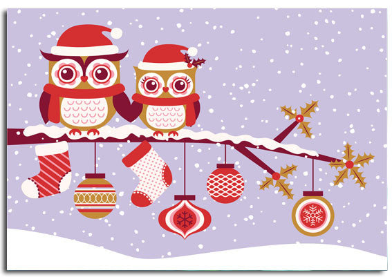 'Pretty Owls', Christmas cards, pack of 10