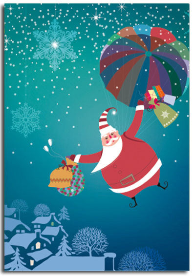 Parachuting Santa Christmas cards, pack of 10