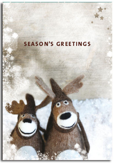 2 wooly Reindeer, Christmas cards, pack of 10