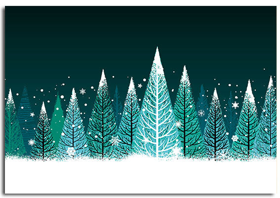 'Winter trees' pack of 10 Christmas cards