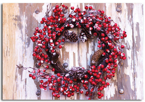 'Wreath' Christmas cards, pack of 10