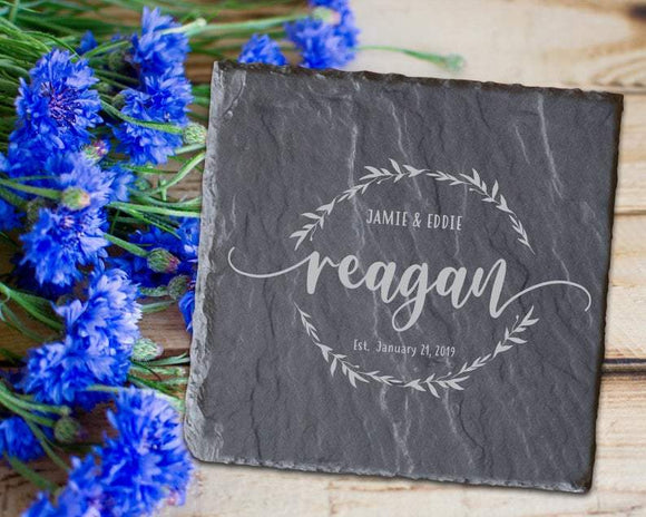 Engraved Slate Coaster Sets