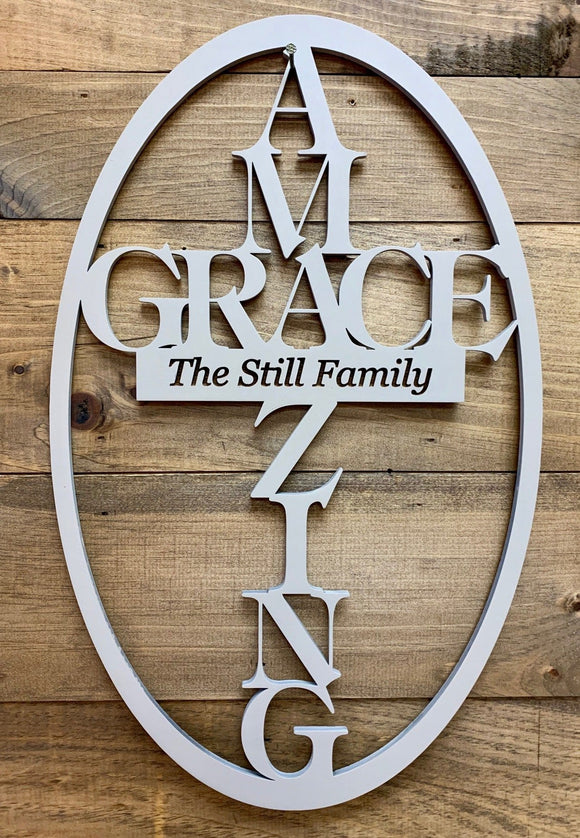 Amazing Grace Personalized Door Hanger - Christian Wall Art
