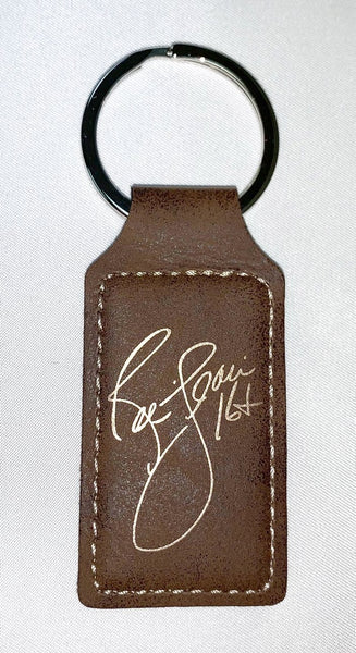 Ric Flair Signature Key Chain, Brown Rectangle Leatherette Fob with Gold Engraving