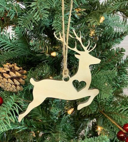 Wooden Deer Christmas Tree Ornament, Wood Deer Ornament, Wooden Christmas Decoration, Laser cut Christmas Tree, Christmas Gift