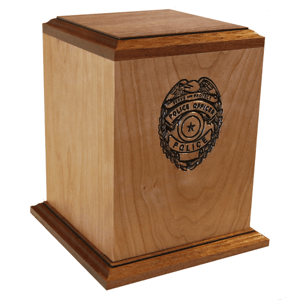 Law Enforcement End of Watch Urn for Ashes, Handcrafted From Solid Cherry and Mahogany Hardwoods