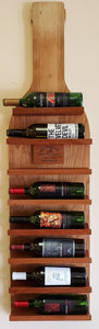 Wine Bottle Holder - Holds 8 Bottles, Hangs on the Wall, Handcrafted with Cherry Wood