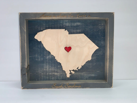 Home Is Where The Heart Is, Rustic, Framed Wall Art - Available for all 50 States