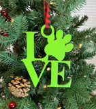 LOVE Paw Print Christmas Ornament, Wood LOVE MY DOG Ornament, Wooden Christmas Decoration, Laser cut Christmas Tree, Christmas Gift