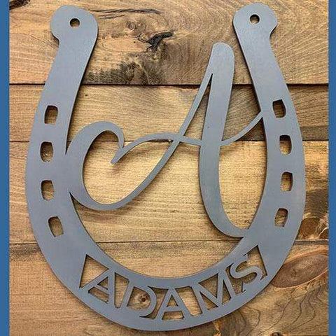 Personalized Horse Barn Decoration / Sign,  Horseshoe Door Hanger / Wreath with  Name & Initial
