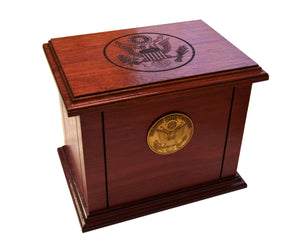 Purple Heart Patriot Funeral Urn – Military, Handcrafted from Purple Heart Mahogany Hardwood, Army, Navy, Marine, Air Force, Coast Guard