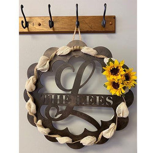 Name & Initial Door Hanger / Ribbon Wreath - All Seasons Home Decor