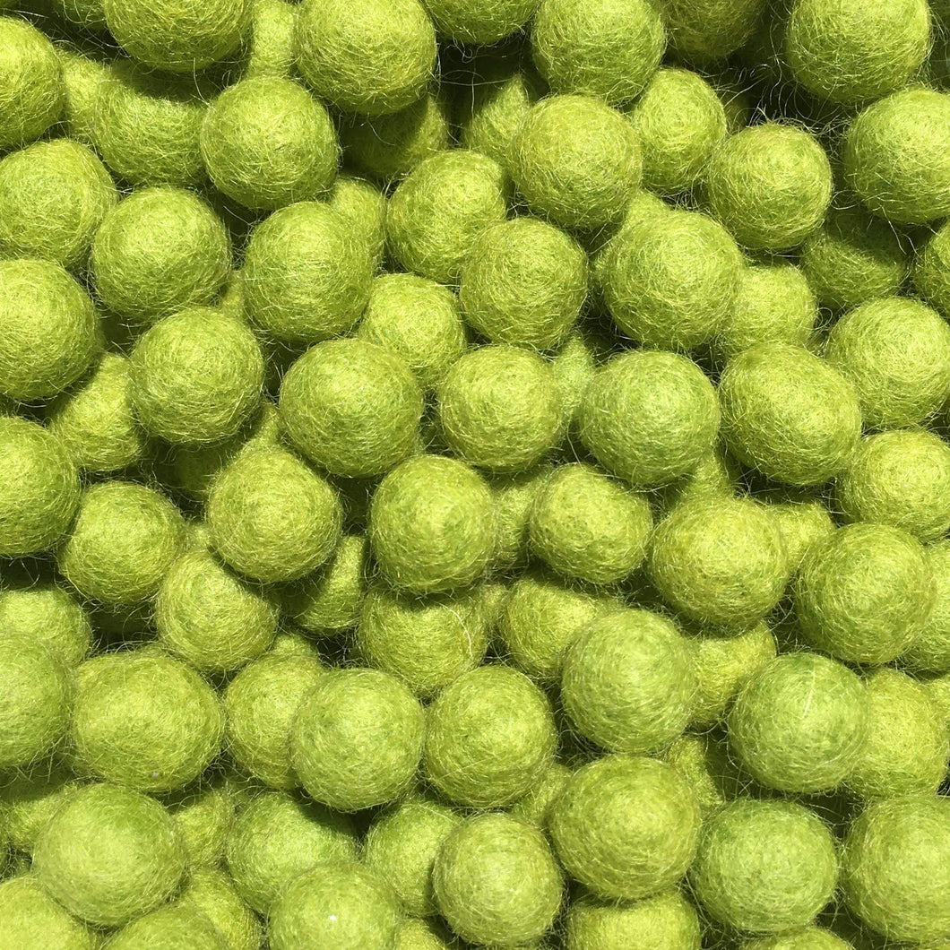 1cm Lime Color Felt Balls