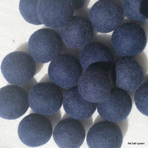 2cm Navy Felt Balls ~ Handmade Wool Felt Beads Pom Pom Home Decor DIY Crafts