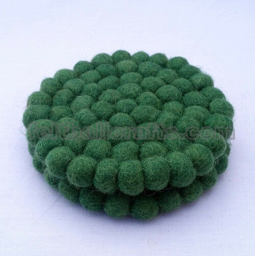 10cm Green Felt Ball Round Tea Coasters