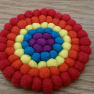 11.5cm Rainbow Color Felt Ball Tea Coaster