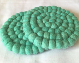 10cm Turquoise Color Felt Ball Tea Coasters