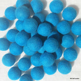 3.5 - 4cm Aqua Blue Color Felt Balls Handmade Felt Wool Beads Pom Pom DIY Crafts