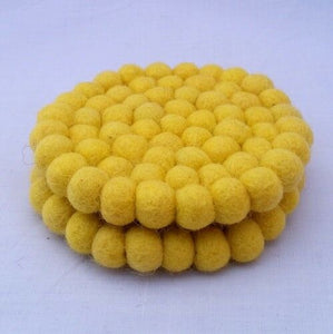 10cm Handmade Yellow Felt Ball Tea Coasters