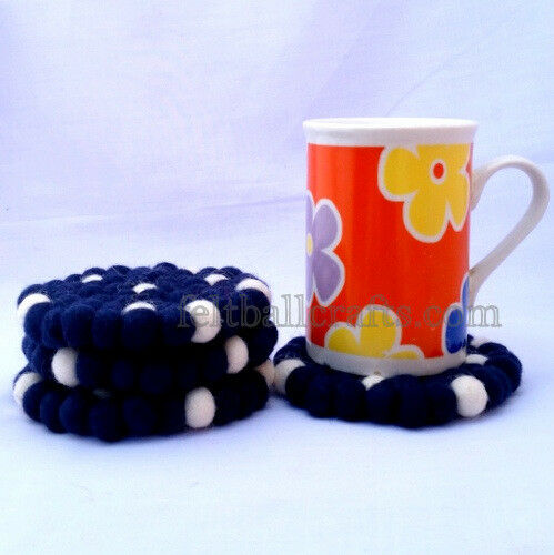 10cm White & Blue Felt Balls Tea Coasters