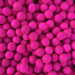 2cm Felt Balls Handmade Wool Beads Hot Pink Pom Pom for Home Decor & DIY Crafts