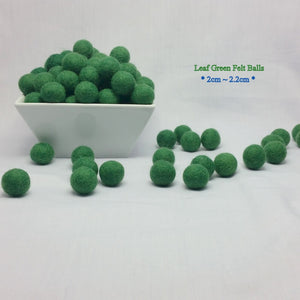 2cm Felt Balls ~ Leaf Green Color Felt Wool Ball Beads Pom Pom DIY Crafts Supply