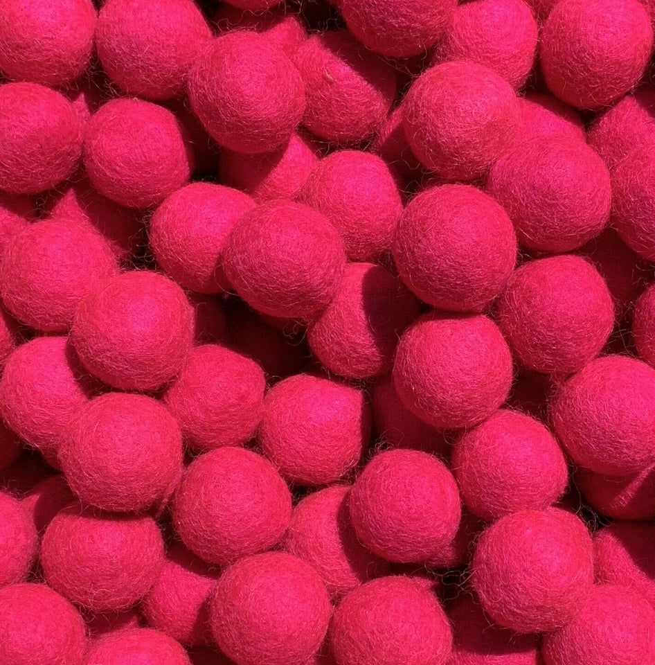 3cm Hot Pink Felt Balls - Handmade Felted Wool Beads Pom Pom DIY Crafts Supplies