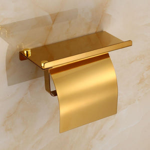 Stainless Steel Toilet Paper Holder With Phone Shelf