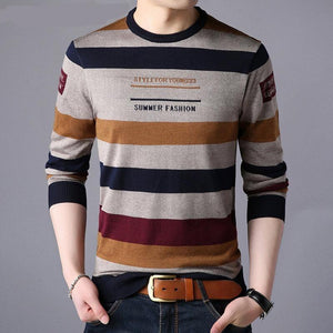 Fashion Striped Pullover Men Knitwear Shirt Winter Cotton Sweaters - Mimosa Crafts