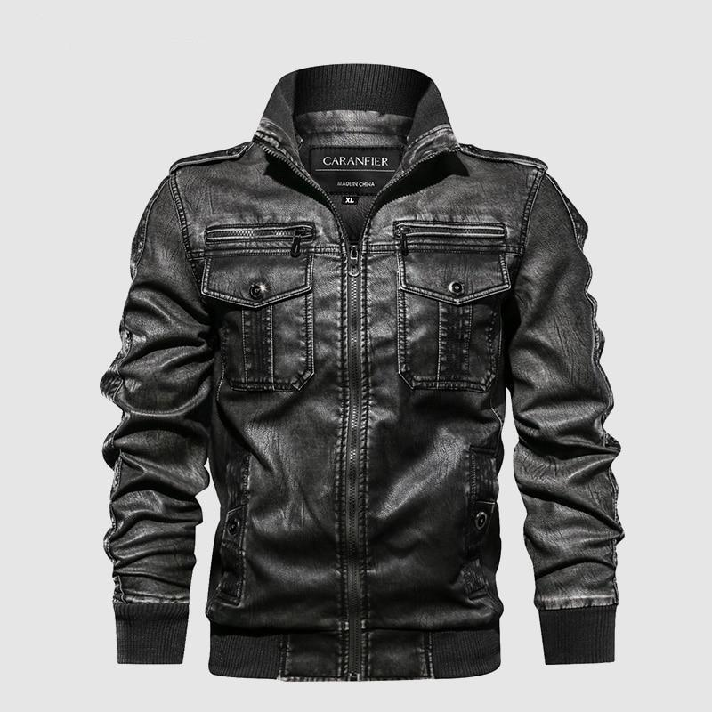 Mens Leather Jackets with Motorcycle Stand Collar and Zipper Pockets - Mimosa Crafts