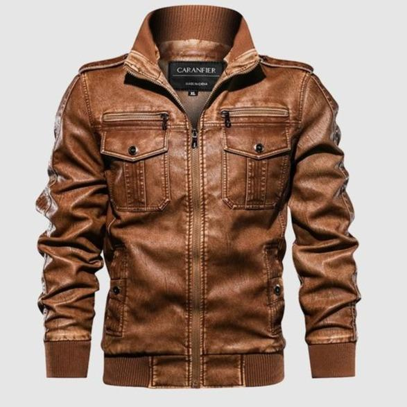 Mens Leather Jackets with Motorcycle Stand Collar and Zipper Pockets