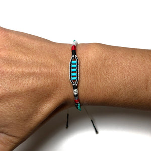 """Winding River"" Fiber Threads with Merino Wool and Turquoise Stones Wanderlust Bracelet"