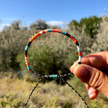 "Load image into Gallery viewer, ""Middle of Nowhere and Everywhere"" Cotton with Pearl and Turquoise Wanderlust Bracelet"