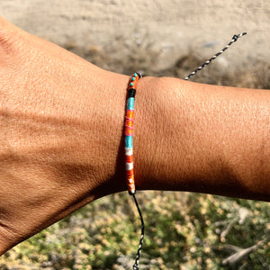 """Middle of Nowhere and Everywhere"" Cotton with Pearl and Turquoise Wanderlust Bracelet"