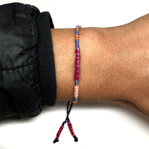 """Be in Love with your Life"" Alpaca Wool and Various Fiber Threads Micro-Wanderlust Bracelet"