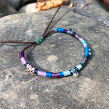 "Load image into Gallery viewer, ""Raindrop"" Cotton with Pearl, Labradorite, Ethiopian Opal, Turquoise, and Seed Bead Wanderlust Bracelet"