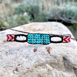 """Bohemian Dream"" Turquoise, Pearl, and Seed Bead Dream Bracelet"