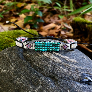 """It Was All a Dream"" Turquoise, Pearl, and Seed Bead Dream Bracelet"