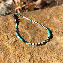 "Load image into Gallery viewer, ""Winter Night"" Black Sunstone, Pearl, Labradorite, Ethiopian Opal, Turquoise, and Seed Bead Spirit Bracelet"