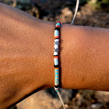 "Load image into Gallery viewer, ""Wandering Bear"" Cotton with Ethiopian Opal, Turquoise, and Pearl Wanderlust Bracelet"