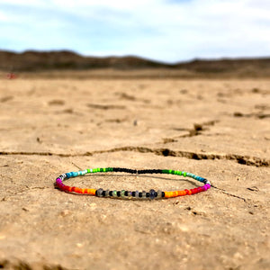 """Painted Sky"" Ethiopian Opal and Seed Bead Spirit Bracelet"