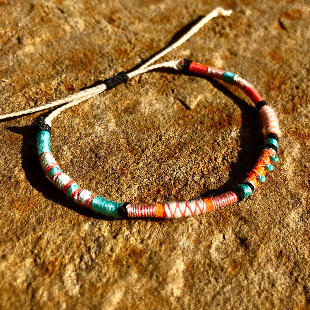 """Dancing Rabbit"" Cotton with Turquoise Wanderlust Bracelet"